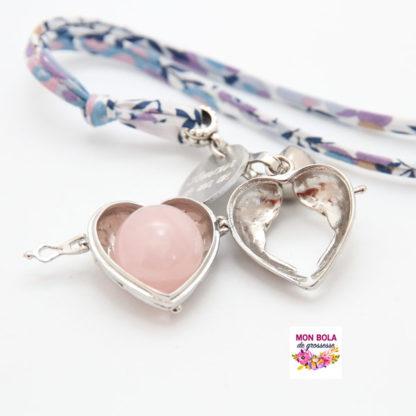 bola pour future maman avec pierre quartz rose