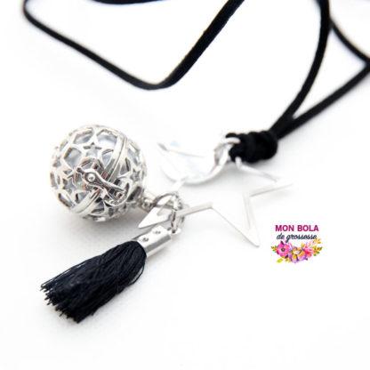 pompon noir en coton pour bola