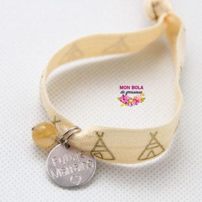 bracelet gravé avec pierre citrine