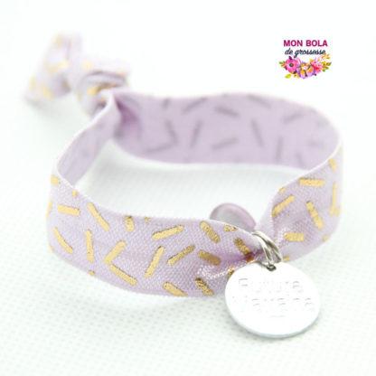 bracelet élastique gravé couleur parme