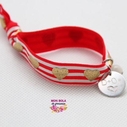 bracelet élastique avec coeurs pour maman